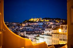 Castello di Lisbona all'ora blu