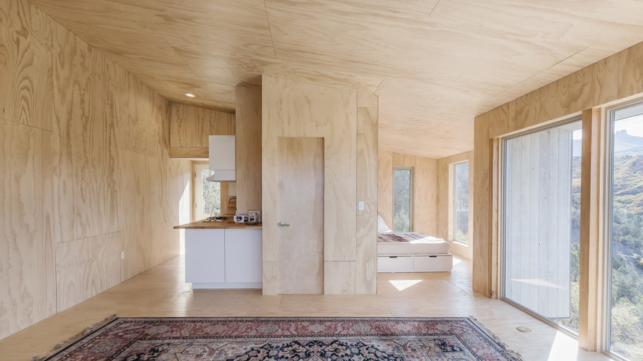 interior, design, plywood, cabin, sustainable, minimal design, minimalism, off-grid, living