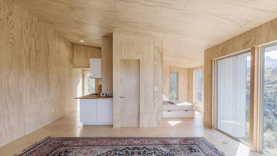 interior, design, plywood, cabin, sustainable, minimal design, minimalism, off-grid, living