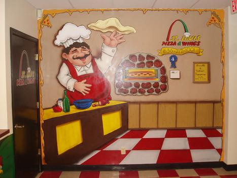 pizza shop wall mural