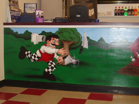pizza shop counter mural