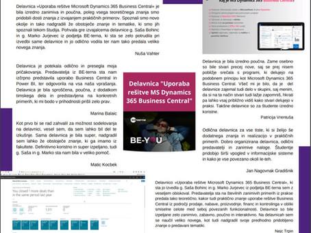 Uspešno izvedena delavnica »Uporaba rešitve MS Dynamics 365 Business Central«💻