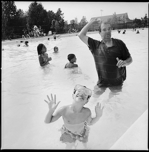 kids and man in pool