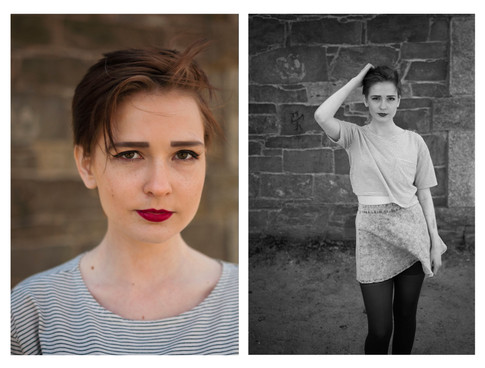 Dyptych of young white woman. First image is a color crop of her serious face. Second image is black and white modelling shot with gust of wind blowing her skirt.