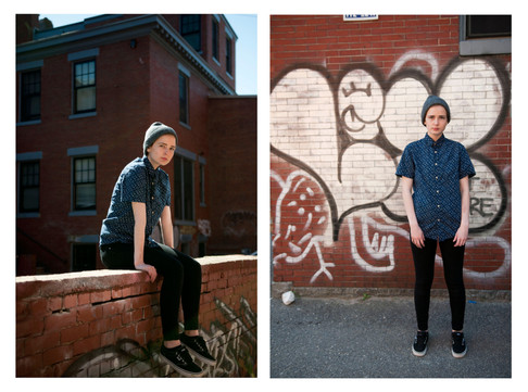 Dyptych of Young woman sits atop a brick graffiti covered fence. She offers a seriuos gaze to the camera.
