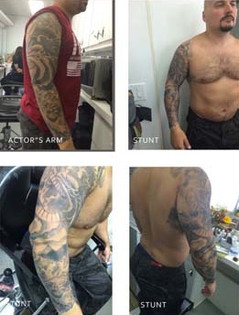Copy of actor's personal tattoo for stunt double, Death Wish