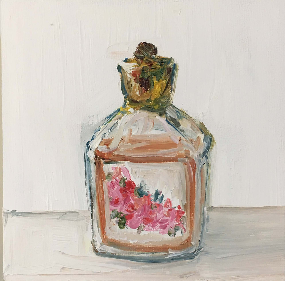 """Perfume Bottle from the Color or the day series to suport Irma in the Perfume Store  Oil on Board 5""""x 5"""""""