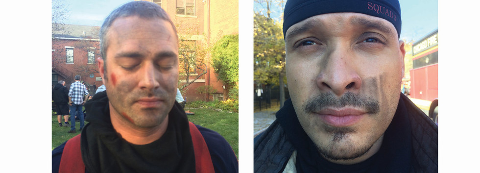 Taylor Kinney and Joe Cruz in Chicago Fire, dirt and smoke