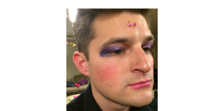 Kevin Bigley in Sirens, in Fairy makeup as if children were playing