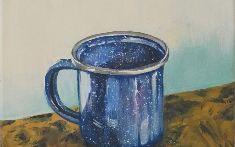 Study of blue tin cup