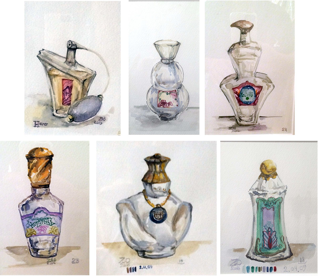 """Perfume Bottle from the Color or the day series to suport Irma in the Perfume Store  Acrylic and Watercolor on paper various sizes within 10""""x8"""" The individual perfume bottles were painted to accompany the large-scale drawing """"At the perfumery"""" to give an atmosphere of a shop. The perfume bottle labels are based on the color schemes I collected during my research, the names follow the overall result in weather condition. Most of the paintings contain the color code of their days, the date and place, and a reference number for my record keeping. Most of the paintings contain the color code of their days, the date and place, and a reference number for my record keeping.  Private collection"""