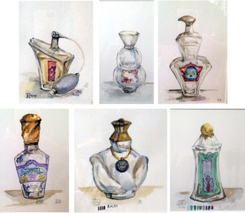 "Perfume Bottle from the Color or the day series to suport Irma in the Perfume Store  Acrylic and Watercolor on paper various sizes within 10""x8"" The individual perfume bottles were painted to accompany the large-scale drawing ""At the perfumery"" to give an atmosphere of a shop. The perfume bottle labels are based on the color schemes I collected during my research, the names follow the overall result in weather condition. Most of the paintings contain the color code of their days, the date and place, and a reference number for my record keeping. Most of the paintings contain the color code of their days, the date and place, and a reference number for my record keeping.  Private collection"