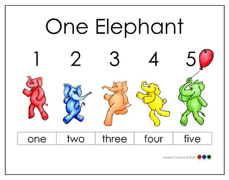 One Elephant counting page Wix black lin