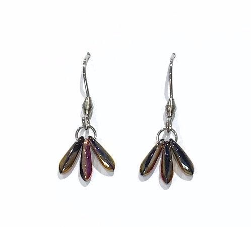 handmade electric pink fan earrings