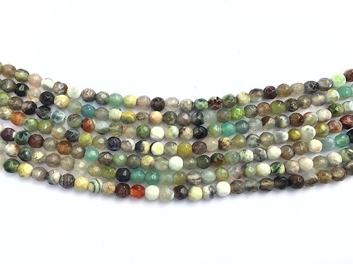 4mm Agate Beads - Green Mix
