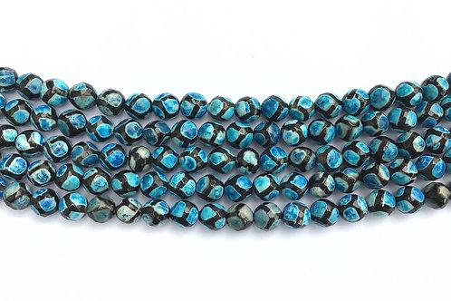 8mm Agate Beads - Blue/Black