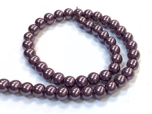 Glass Pearl Beads, Dusky Purple - 6mm
