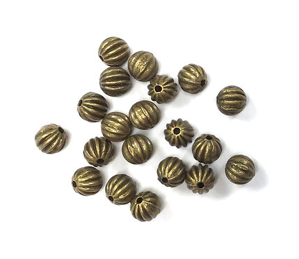 Stripe Beads, Bronze Tone - Pack of 20