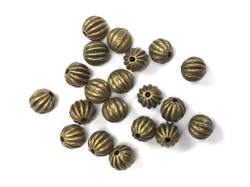 Stripe Beads, Bronze Tone - Pack of 20