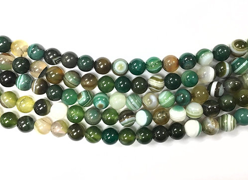 8mm Agate Beads - Green