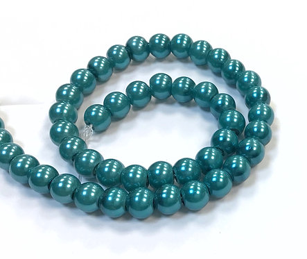 Glass Pearl Beads, Teal - 6mm