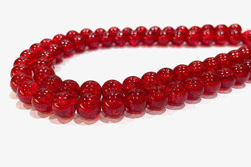 red crackle glass beads 8mm