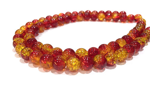 red/yellow crackle glass beads 8mm