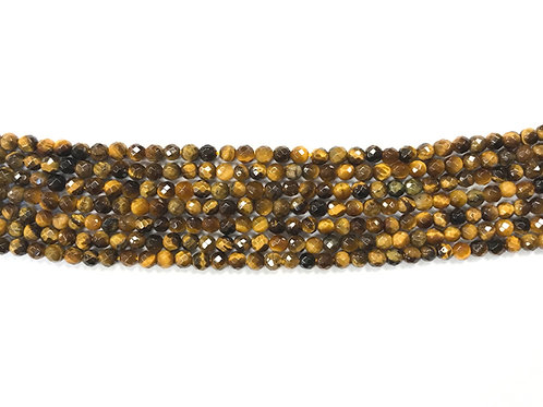 3mm Tigers Eye Beads - Faceted