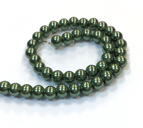 Glass Pearl Beads, Forest Green - 6mm