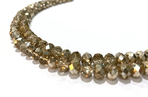 Crystal glass rondelle beads gold 8mm