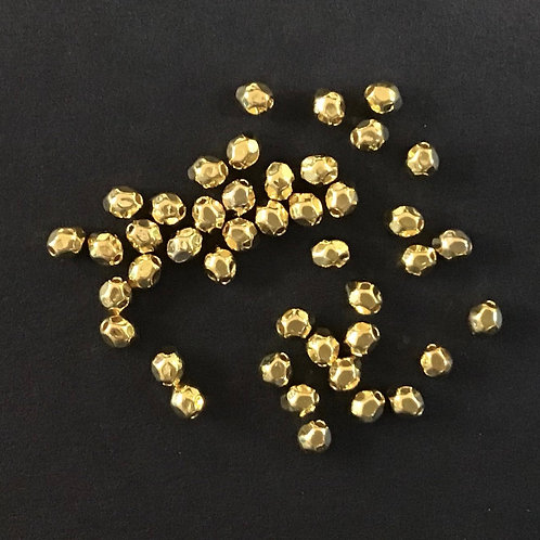 Faceted Tiny Beads - Gold Tone 4x3mm