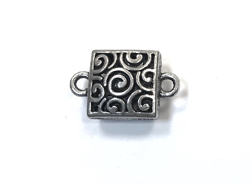 Square Hollow Connector, Silver Tone
