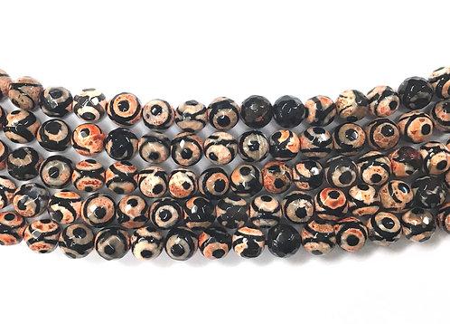 8mm Agate Beads - Orange/Black