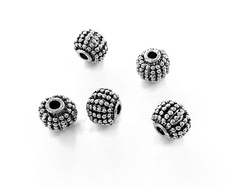 Round Beads, Silver Tone - Pack of 10