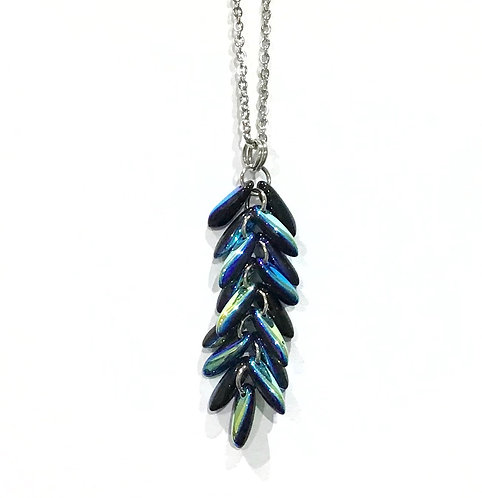 handmade electric blue feather necklace