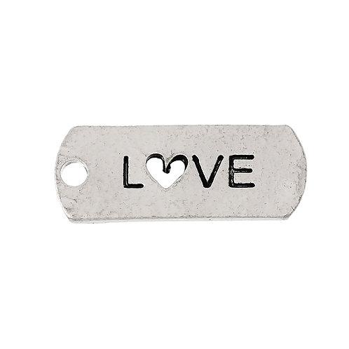 Charm Tag 'Love' - Silver