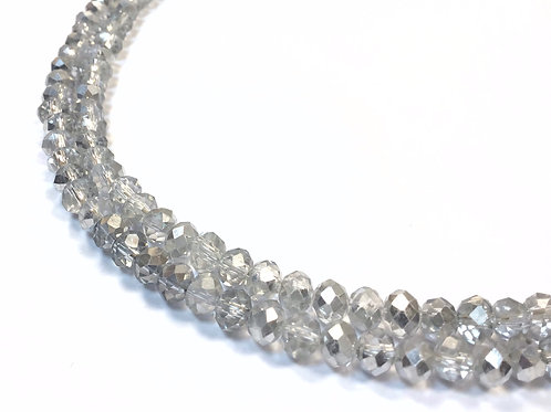crystal glass rondelle silver beads 6mm