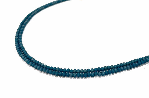 Crystal Glass Rondelle Beads, Teal 2 Tone - 3mm