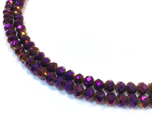 purple crystal glass rondelle beads 6mm