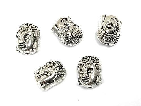 Buddha Head Beads, Silver Tone - Pack of 5