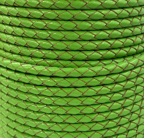 Braided Leather Cord 4mm - Lime Green