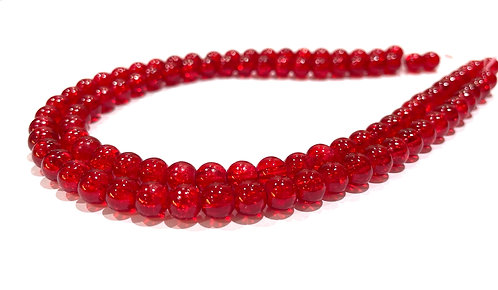 6mm crackle glass beads red