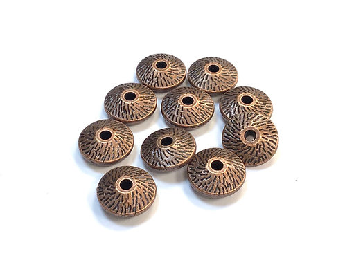 Saucer Beads, Copper Tone - Pack of 10