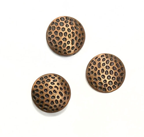 Hammered Beads, Copper Tone - Pack of 6