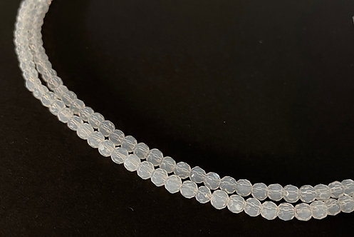 crystal glass cloudy white round beads 4mm