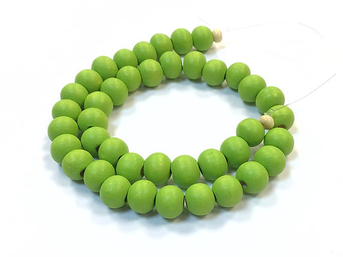 lime green wood beads