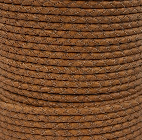 Braided Leather Cord 3mm - Tan