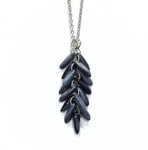 handmade dark blue feather necklace