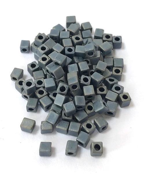 Miyuki 3 x 3 Square Beads - Matte Metallic Silver Grey