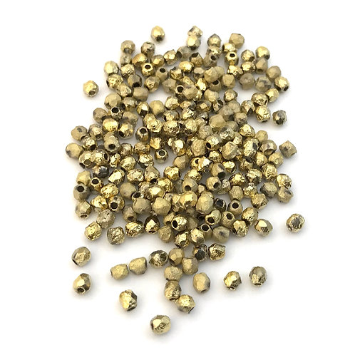 fire polished gold beads - 3mm